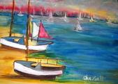 書韻最近油畫:帆....水彩