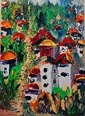 油畫的世界:書韻作品-城堡..手指油畫