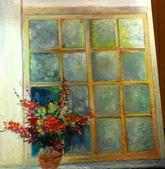 11月油畫作品,敬請指教:窗內(80*65CM)25F