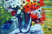 書韻最近油畫:瓶花....手指油畫
