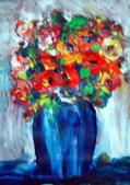 書韻最近油畫:瓶花...手指油畫