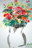 書韻最近油畫:瓶花....水彩