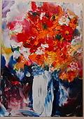 油畫的世界:書韻作品..手指油畫 ...瓶花