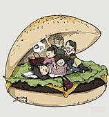 【插畫】新鮮事:同甘共苦吃漢堡!!一團肥肉