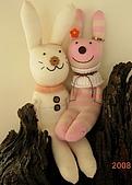 天使瘋手作:襪子娃娃~情侶兔