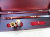 (作品集)肚臍章、胎毛筆、胎毛項鍊、胎毛印章、手鍊BABY金足印製做:吉祥胎毛筆─紫檀鑲貝胎毛筆